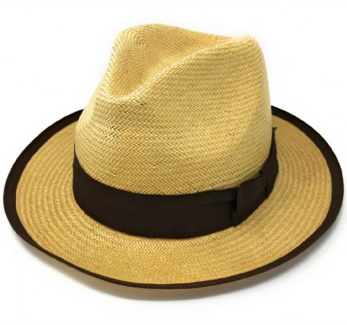 Snap Brim Straw Trilby Hat with Brown Band - Havana